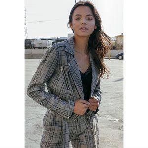 Jackets & Blazers - 🆕 Gray Plaid Moto Belted Jacket